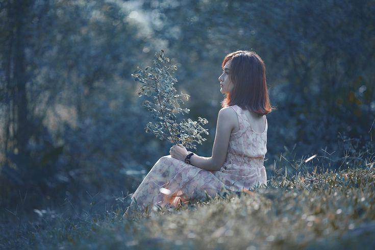 여자, 아시아의, 좌석, 봄, 풍경, 모델, 아름다움, 여름 풍경, 여성, 소녀, 야외, 사람