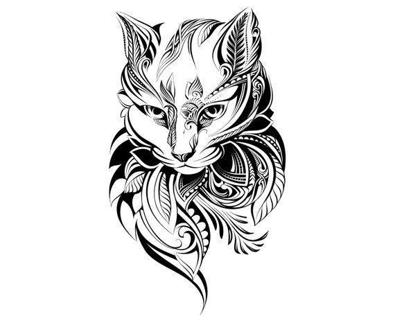 cat head mandala zentangle animal tattoosilhouette