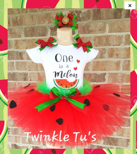 "Watermelon ""One in a melon"" First Birthday Tutu Outfit"