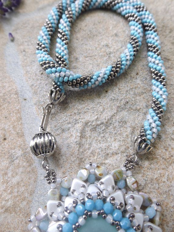 Crochet necklace with pendant by Akissbeads on Etsy