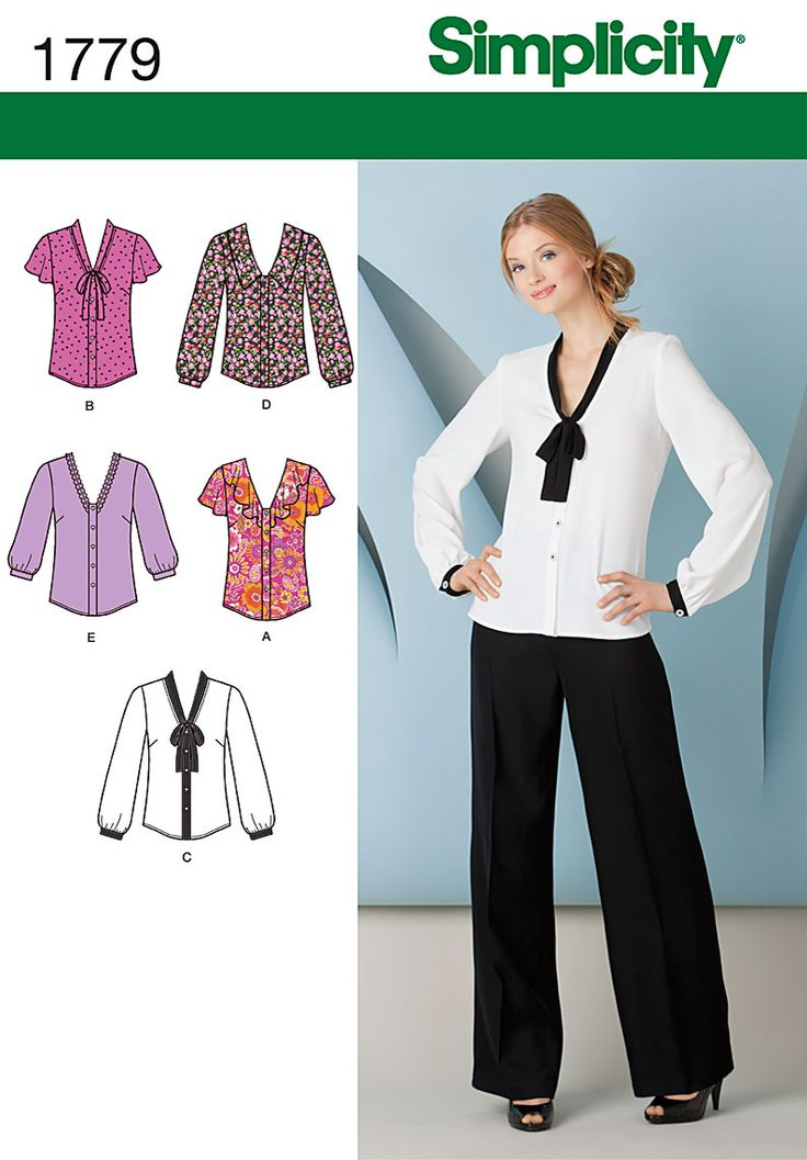 1779 Misses' Tops Misses' blouse with collar and sleeve variations. Blouse with a V-neck tie, wide V-neck collar, flounces or trimmed neckline. Simplicity sewing pattern.