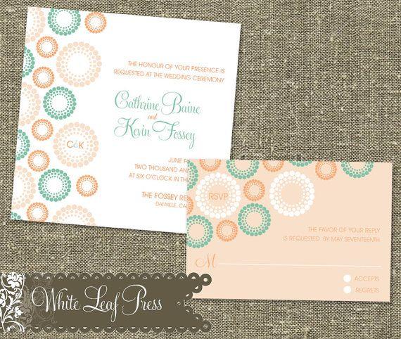 Printable Wedding Invitations Circle And Dots 5000 Via Etsy