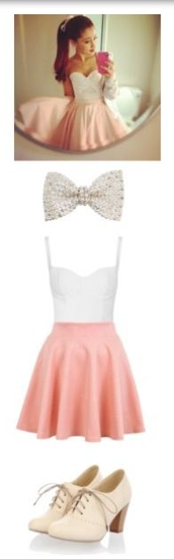 Sparkling hair bow White fancy top Pink skater skirt Laces heels