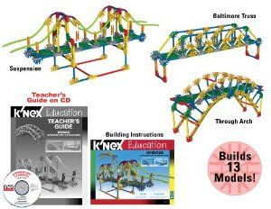 K'NEX Education - Intro to Structures: Bridges by K'NEX Education. $34.66. Investigate different bridge designs and understand how they work. Describe and understand the forces that act on structures.. Comprehensive teacher's guide aligned to NSES, ITEEA, NCTM and Common Core Mathematics standards included.. Describe how structures are made stable and how they are able to support loads.. Builds 13 Bridge Models from K'NEX!. Models are fully functioning replicas of...