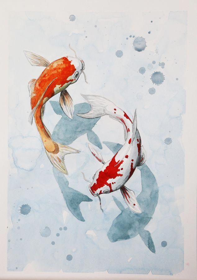Koi Fish Ponds Koi Art Watercolor Fish Fish Drawings