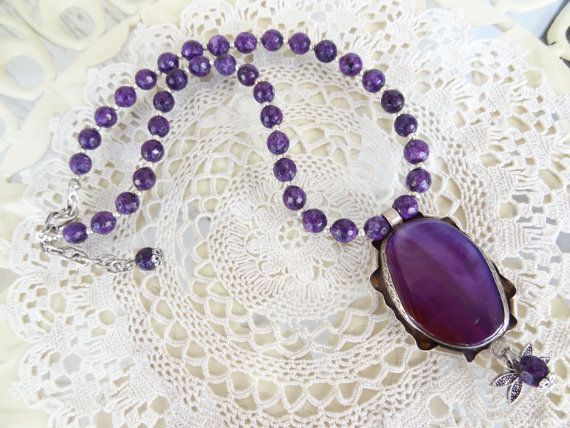 Purple Agate Necklace Stone Jewelry Purple Agate Pendants #necklace #for #summer