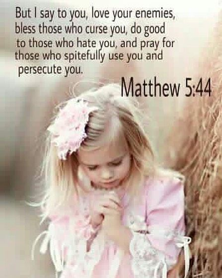 But i say to you love your enemies bless those who curse you do good to those who hate you and pray for those who spitefully use you and persecute you.  Matthew 5:44 by whisperfromgod