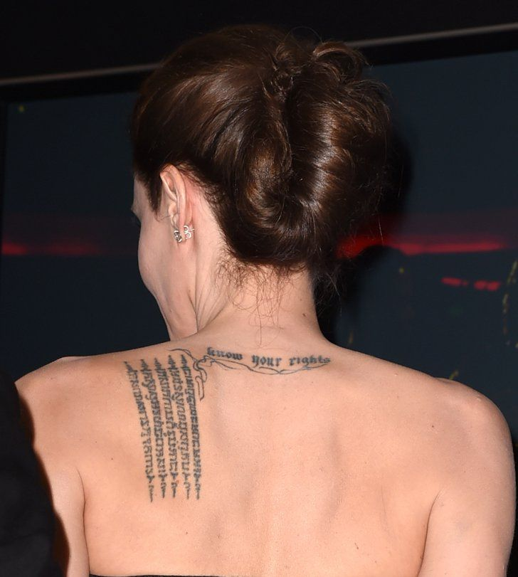 "Pin for Later: The Ultimate Celebrity Tattoo Gallery Angelina Jolie Angelina Jolie sports a ""know your rights"" tattoo on the back of her neck as a declaration of her support for human rights."