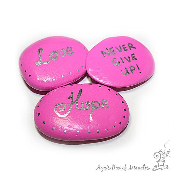 Personalized Breast Cancer Survivor Gift / Set of 3 Pink Hand painted Rocks / Hope, Love, Never Give Up / Inspirational Garden Stones