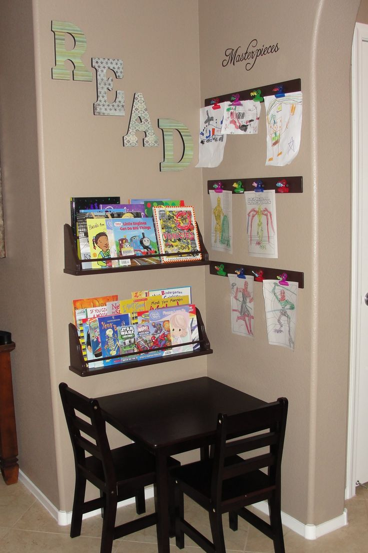 """2 ideas I found on pinterest, combined them & made a """"kid corner"""" in my livingroom. My results!"""
