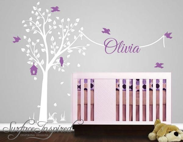 Elegant Tree Wall Decal with Birds and Custom Name | Surface Inspired Wall Decals