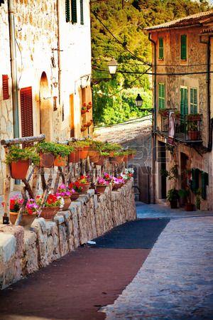 Medieval street in Valldemossa village in Mallorca, Spain