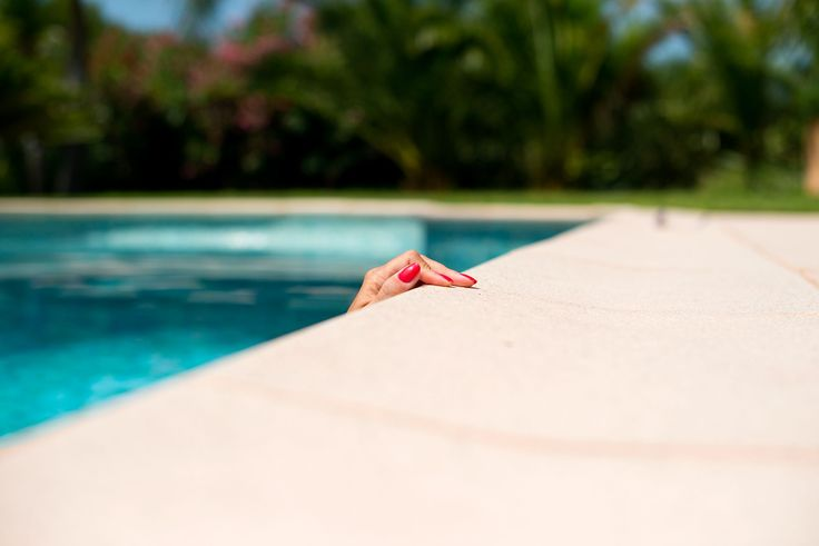Photo Art - 'The colour Nice' by Joakim Blomquist - pool, red nails, france..