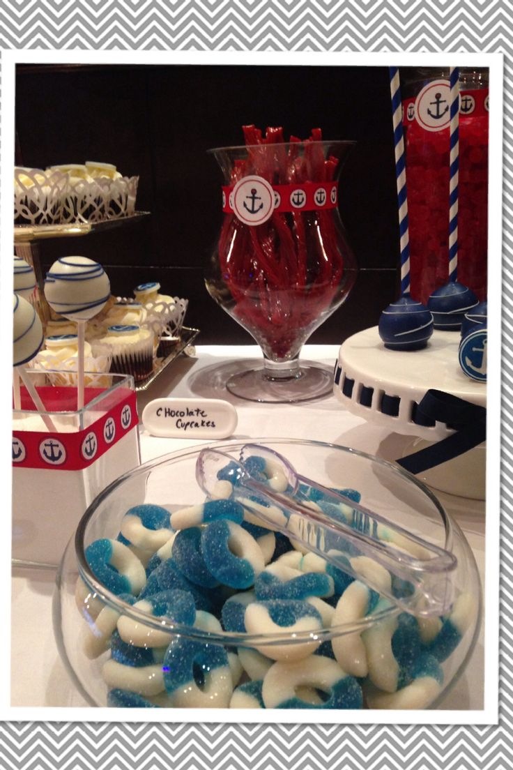 Nautical  Candy Bar Cakepops -red -white -blue baby shower -cupcakes chocolate pretzels -candy - white chocolate almonds -strawberries dipped in chocolate -Sorini Chocolate -marshmallows -