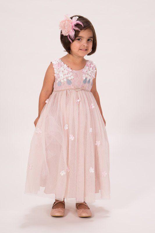 Gorgeous Blush Pink Flowers Girl Dress