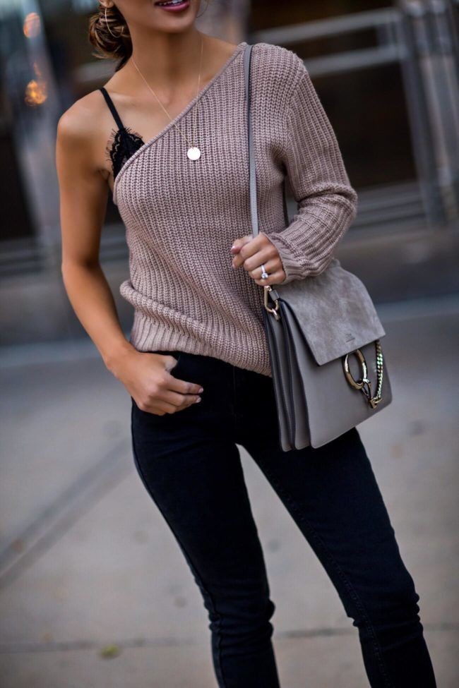 SEPTEMBER 7TH, 2017 BY MARIA HOW TO MAKE COZY LAYERS MORE FEMININE -  OUTFIT DETAILS: NA-KD One Shoulder Sweater  NA-KD Ripped Bottom Black Jeans NA-KD Lace Bra NA-KD Sunglasses NA-KD Fur Heels