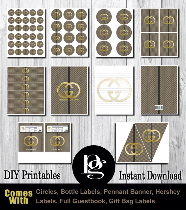 $14.95 Printable Gucci Party Decorations | Gucci party ... - photo #14