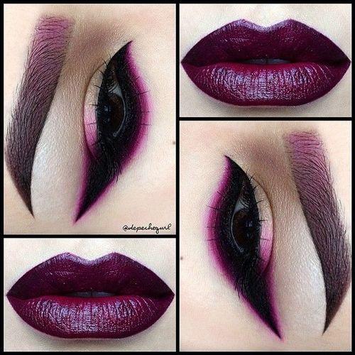 dark eyes and lips