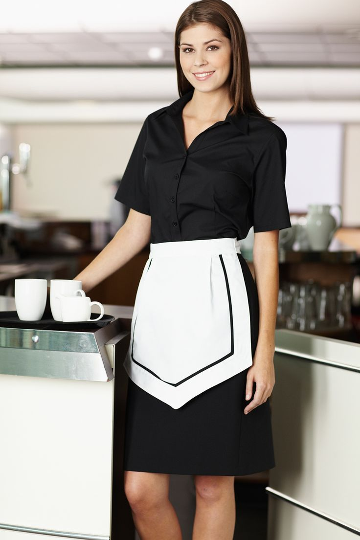 Modern Tea Room Waitress In A Black White Uniform
