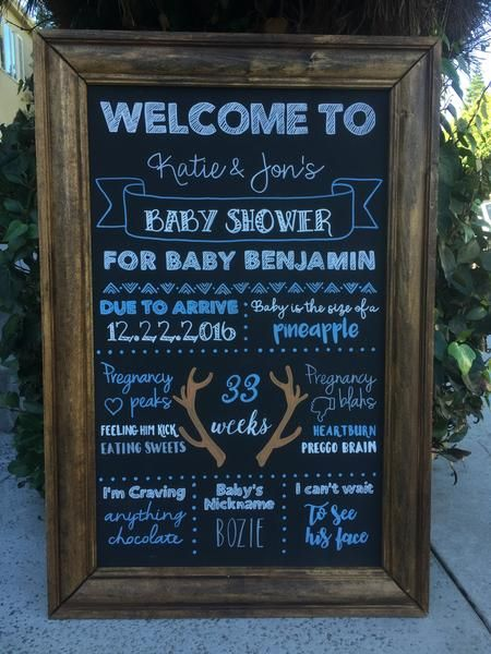Welcome Baby Shower Framed Chalkboard Sign Rustic Baby Shower Decor Sign