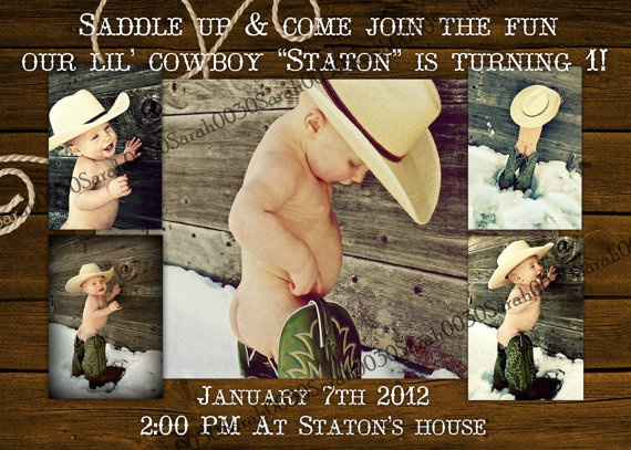 5x7 Cowboy invitation up to 5 pictures digital you by DigitalParty, $8.00