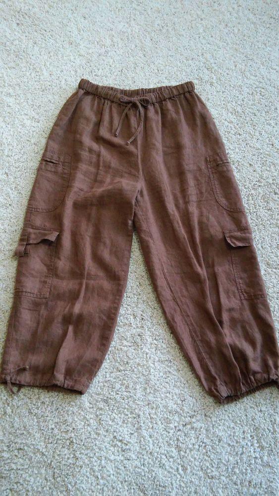 Women's FLAX 100% Linen Pants M Brown Loose Comfy Cargo Crop Capri Lagenloook #Flax #Linen