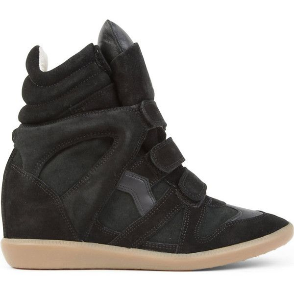 Isabel Marant Etoile Bekett suede and leather wedge trainers ($430) ❤ liked on Polyvore featuring shoes, sneakers, black wedge sneakers, black strappy shoes, leather wedge sneakers, suede wedge sneakers and leather sneakers