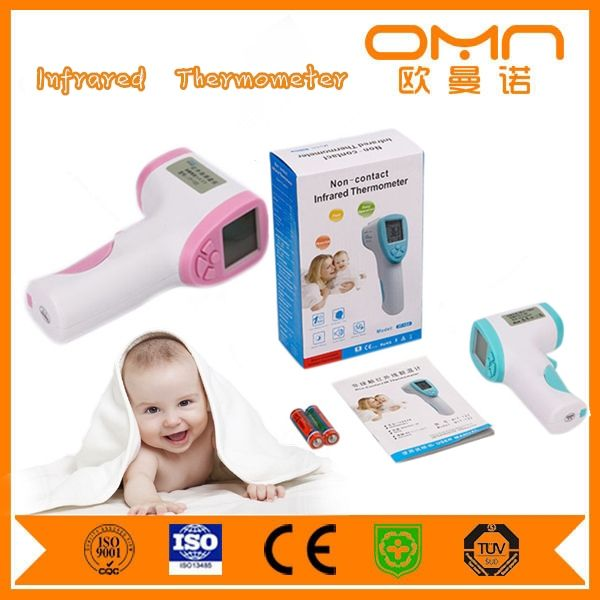 Mother and Baby Use Infrared Ear Digital Thermometer for Fever Temperature Detection