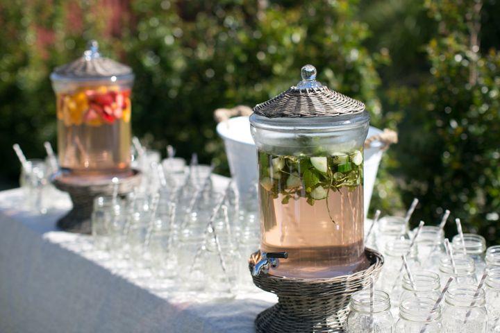 Hampton Event Hire // Wicker Drink Dispensers / Mason Ball Jars / White Champagne Tub // Servicing Byron Bay / Gold Coast / Brisbane