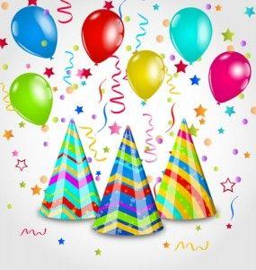 verjaardagswensen ballonnen en feestmuts