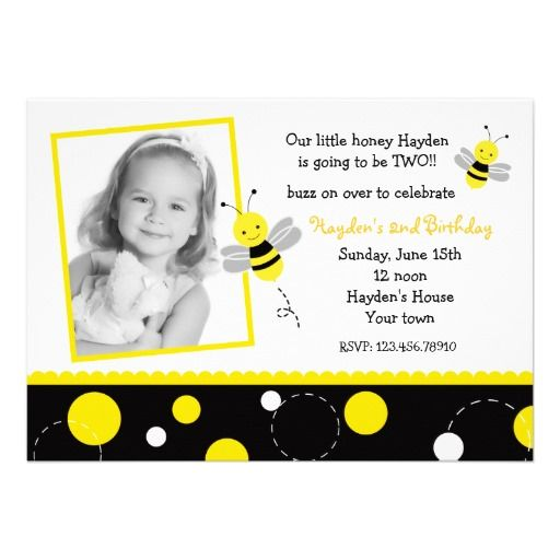 20 best bumble bee birthday invitations images on pinterest bumble bee photo birthday party invitations filmwisefo Images