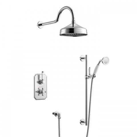 150mm Traditional Stainless Steel Wall Mounted Head, Rail Kit [PT-SS2WCTRAD01] - £199.99 : Platinum Taps & Bathrooms