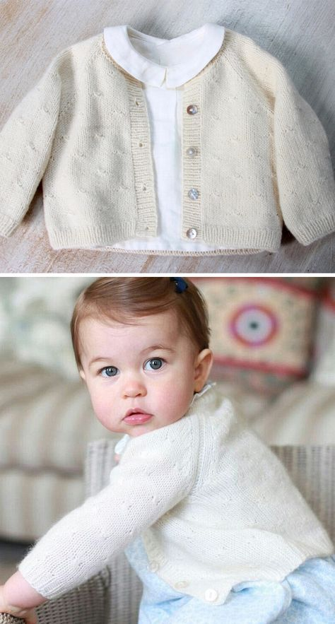 Knitting Pattern for Princess Charlotte Cardigan - This baby cardigan sweater is designed by the one Princess Charlotte wore in her first birthday photographs. Size: 6 Sizes :Preemie (-1), Newborn / 3 months / 6 – 9 months / 12 months and 18 – 24 months