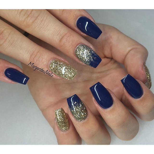 For Prom Blue Nail Ideas: Dark Blue& Gold Glitter #gelnails #naturalnails #glitter