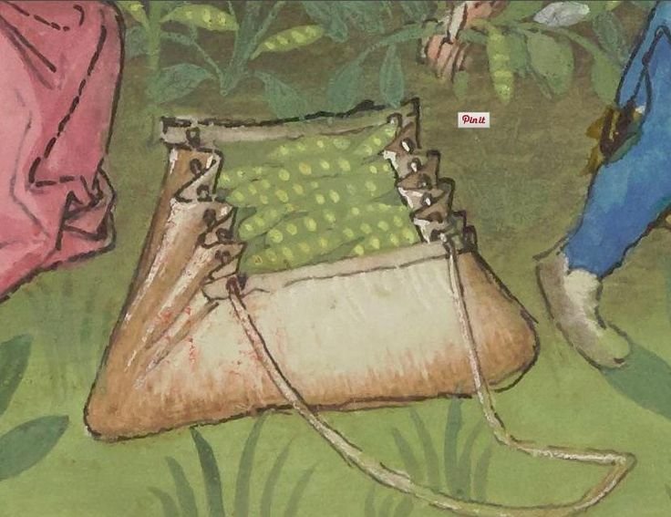 IBN BUTLAN, Tacuinum sanitatis (Gallica, Bibliotheque nationale de France) 14th or 15th century, description is French Great detail of leather bag, pilgrim bag?