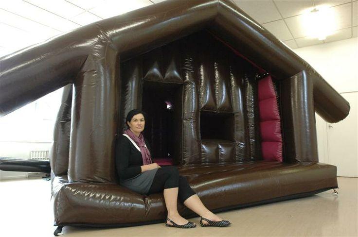 Inez Crawford's (Te Whanau a Apanui) Inflatable Bouncy Marae sculpture.