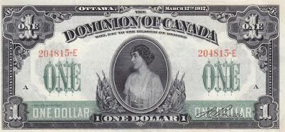 Dominion of Canada Notes one Dollar banknote of 1917, Princess Patricia of Connaught.