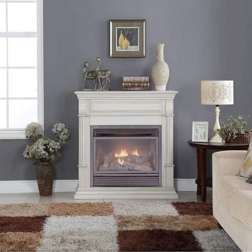 Duluth Forge Dual Fuel Vent Free Gas Fireplace - 26,000 BTU, Remote Control, Antique White Finish - Factory Buys Direct