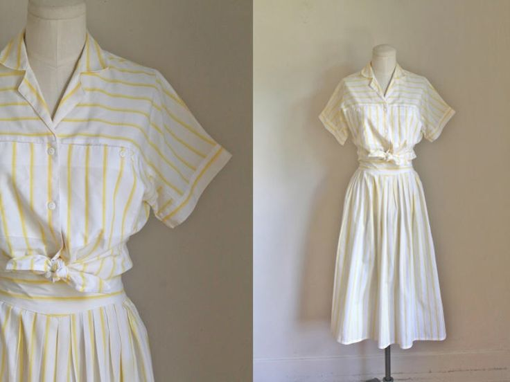 vintage 1980s dress set - LEMONADE STAND yellow & white striped top and skirt set / S/M by MsTips on Etsy https://www.etsy.com/listing/542410393/vintage-1980s-dress-set-lemonade-stand