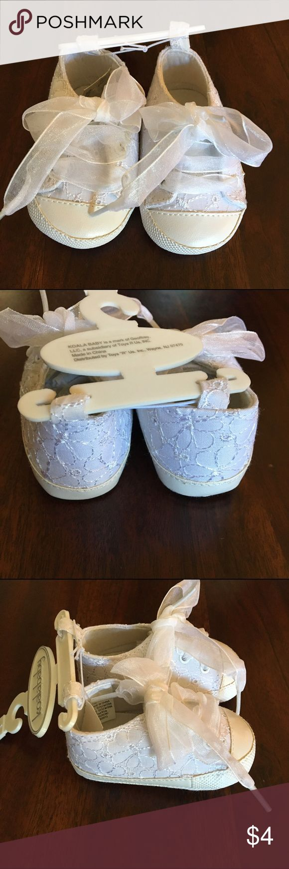 Koala baby girl shoes, size 1 NWT Koala baby girls shoes, size 1. White in color with a white stitched flower design & ribbon ties. Brand new with tags Koala Kids Shoes Baby & Walker