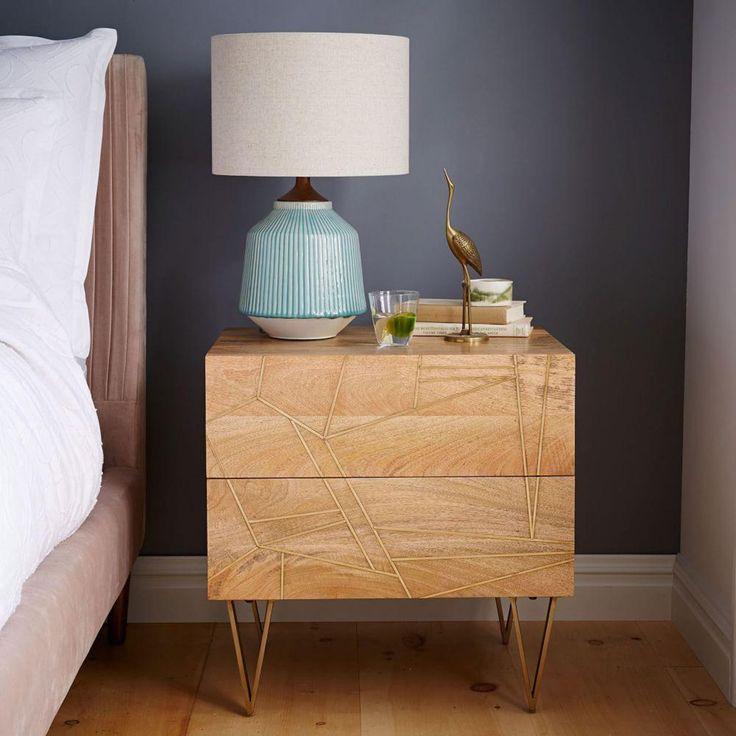 Roar + Rabbit Brass Geo Inlay Bedside Table