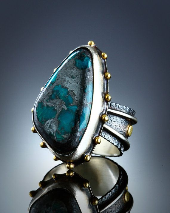 Chrysocolla and Hematite Ring