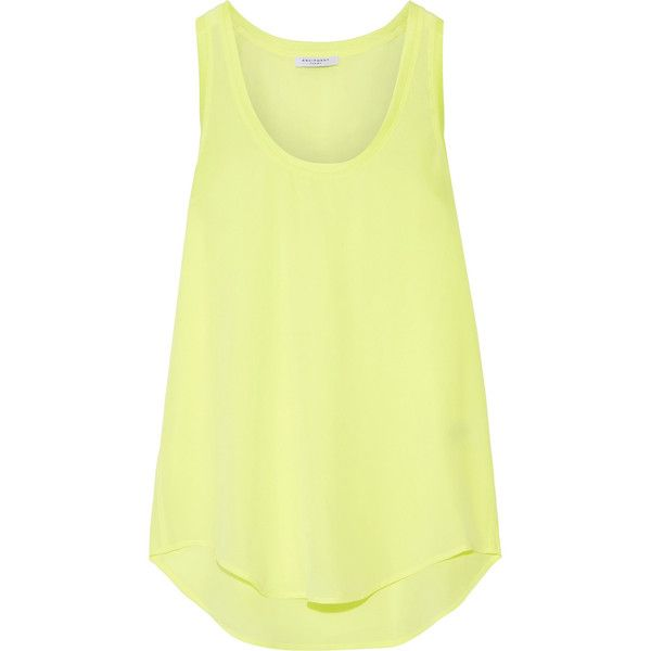 Equipment Mel neon washed-silk tank ($190) ❤ liked on Polyvore featuring tops, silk tank tops, loose tank top, loose tank, scoop neck tank and loose fit tank
