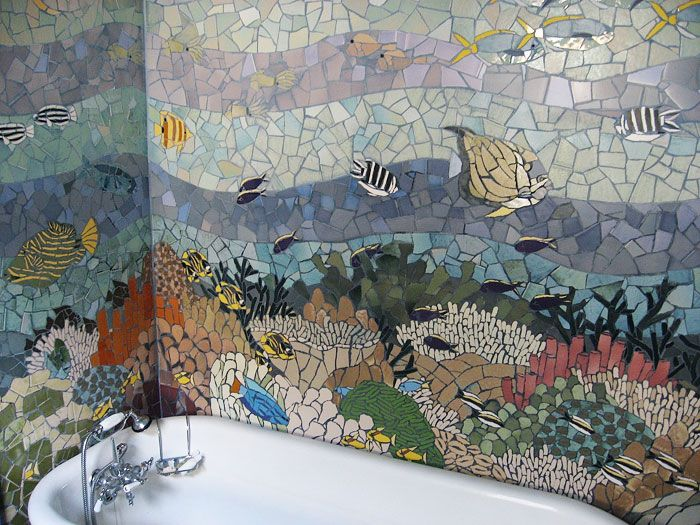 Interior tile mosaic by Jeffrey Bale. It's incredible to be in the space. All the walls are underwater mosaic.