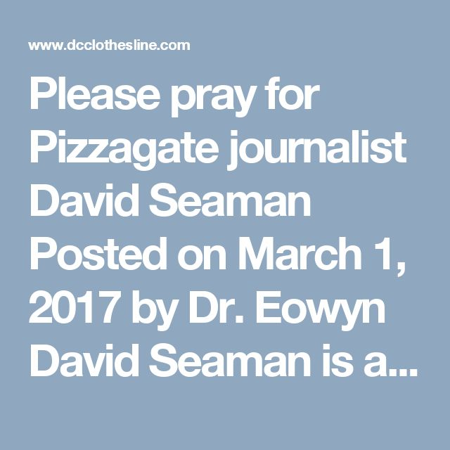 "Please pray for Pizzagate journalist David Seaman Posted on March 1, 2017 by Dr. Eowyn David Seaman is a self-described ""Progressive"" independent journalist who contributes to a number of media outlets, including Huffington Post — until last year, when he was banned by HuffPo for his reporting on Hillary Clinton's health.  See ""Banned by HuffPo, David Seaman calls media collusion with Hillary Clinton 'Orwellian propaganda'""  Since then, Seaman became a Trump supporter and has continued to…"
