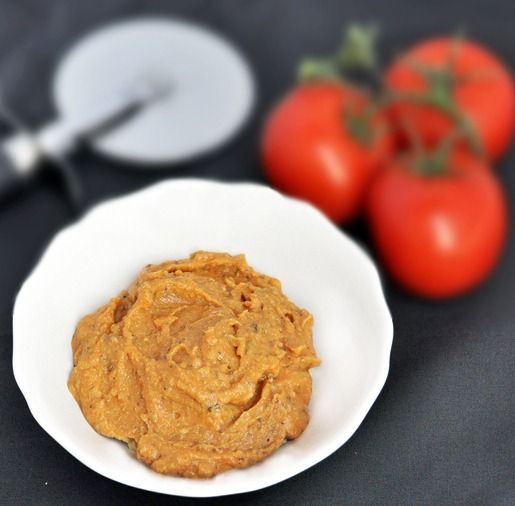 "Pizza hummus- might have to try some of this ""nutritional yeast"" stuff I keep seeing in recipes"