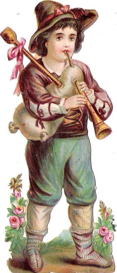 Oblaten Glanzbild scrap die cut chromo Kind child 12cm Knabe boy Flöte flute Bub