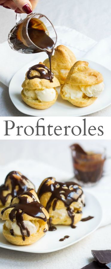 Delicate pastry puffs filled with sweet vanilla ice cream and doused in warm chocolate sauce. Recipe via MonPetitFour.com