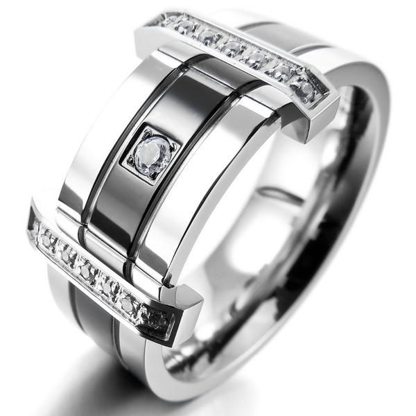 Men s Stainless Steel Gemstone Ring   AtPerrys Healing Crystals   1