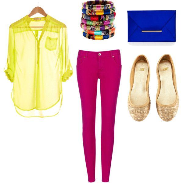 pop colors, created by baspad on PolyvoreColors Pop, Pink Pants, Pop Colors, Black Heels, Colors Block, Polyvore Style, Queens Closets, Bright Colors, Dresses Codes